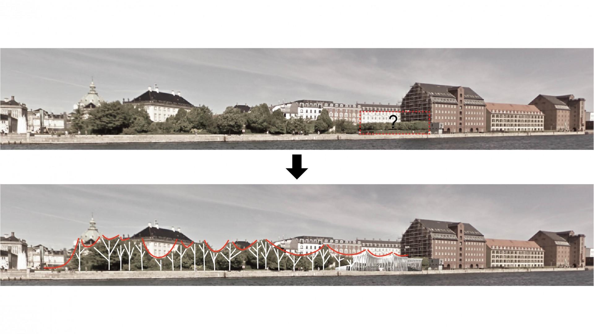 le projet s'inscrit comme une continuité du parc, élément fort du site.