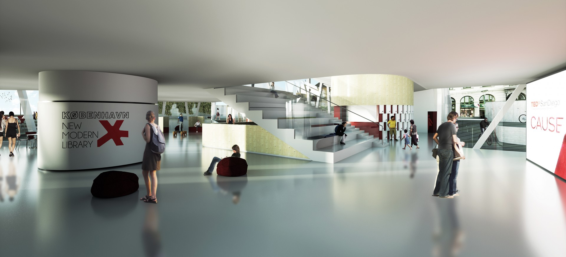 Vue intérieur sur l'auditorium ouvert pour des événements au cœur de la bibliothèque.